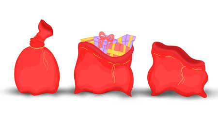 Christmas red sack with gifts and toys, empty, full knotted. Cute Christmas bag of Santa Claus. Isolated on a white background Illustration