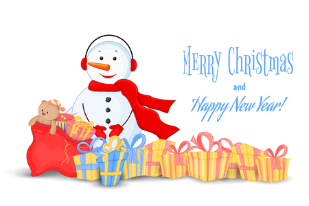 Snowman in scarf, boots, mittens and headphones. postcard for the new year, Christmas. Isolated objects on white background. Template for text, congratulations. Quencies with gifts and sack of toys. Illustration