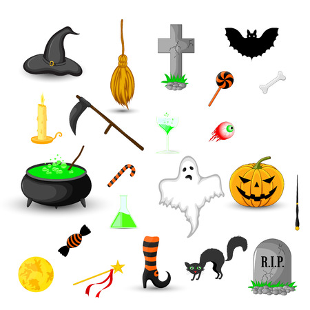 set of Halloween objects isolated on white background