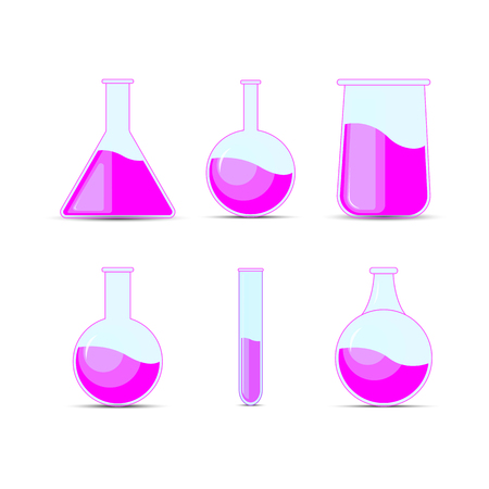 Set chemical flask, bottles, potions for Halloween and chemistry
