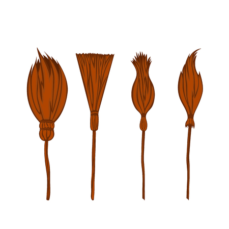 set witchs broom on a white background isolated.
