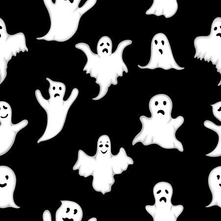Seamless pattern Ghost with white eyes on Halloween