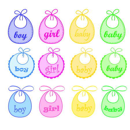 baby bibs for girl and for boy Stock Photo