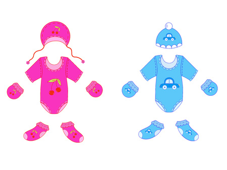 a set of baby clothes for boy and girl in vector Illustration