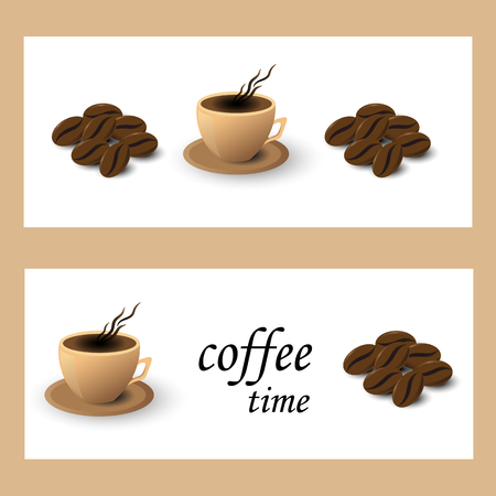 Banner coffee Cup and grain on white background Illustration