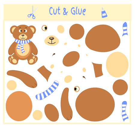 Education paper game for the development of preschool children. Cut parts of the image and glue on the paper. Vector illustration. Use scissors and glue to create the applique. Bear in scarf. Teddy. Illustration