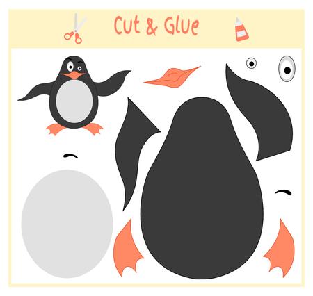 Educatief papieren spel voor de ontwikkeling van kleuters. Knip delen van de afbeelding en lijm op het papier. Vector illustratie. Gebruik een schaar en lijm om de applique te maken. pinguïn.