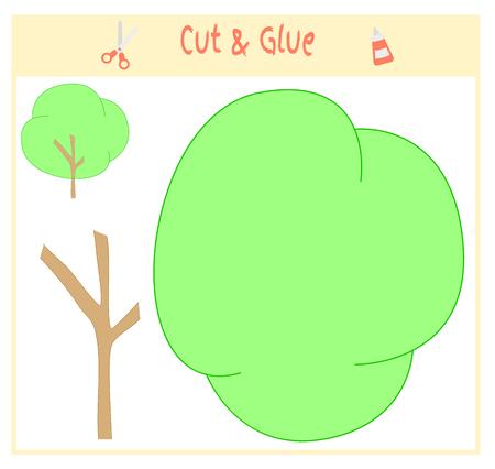 Jeu de papier d'éducation pour le développement des enfants d'âge préscolaire. Couper des parties de l'image et coller sur le papier. Illustration vectorielle Utilisez des ciseaux et de la colle pour créer l'applique. Arbre vert. Banque d'images - 89096862