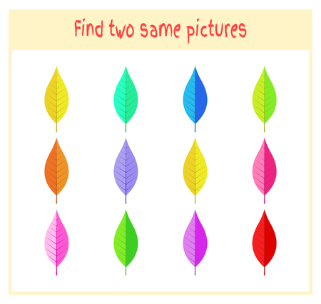 Cartoon Vector Illustration of Finding Two Exactly the Same Pictures Educational Activity for Preschool Children with leaves of the tree. Illustration
