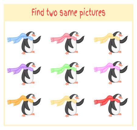 Cartoon Vector Illustration of Finding Two Exactly the Same Pictures Educational Activity for Preschool Children with penguins.