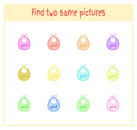Cartoon Vector Illustration of Finding Two Exactly the Same Pictures Educational Activity for Preschool Children with baby bibs.