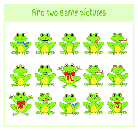 Cartoon Vector Illustration of Finding Two Exactly the Same Pictures Educational Activity for Preschool Children with frogs.