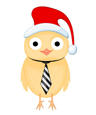 surprised owl in hat of Santa Claus and the tie. postcard for the new year and Christmas. Isolated objects bird on white background. Template for text and congratulations Illustration