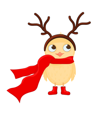 Owl in the scarf, boots with deer hairband. Postcard for the new year and Christmas. Isolated objects bird on white background. Template for text and congratulations
