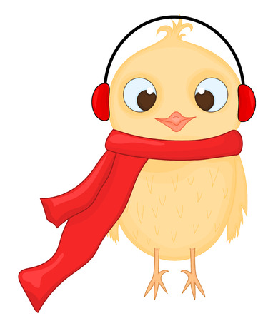 Owl in the warm headphones and scarf. Postcard for the new year and Christmas. Isolated objects bird on white background. Template for text and congratulations