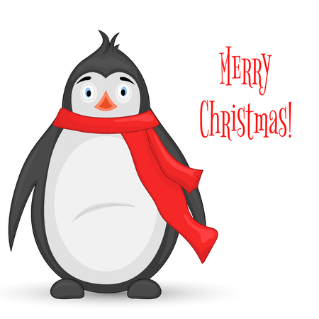 polar penguin in a scarf postcard for the new year and christmas isolated objects