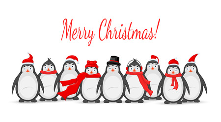 Many polar penguins Christmas vector illustration Çizim