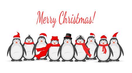Many polar penguins Christmas vector illustration Stock Illustratie