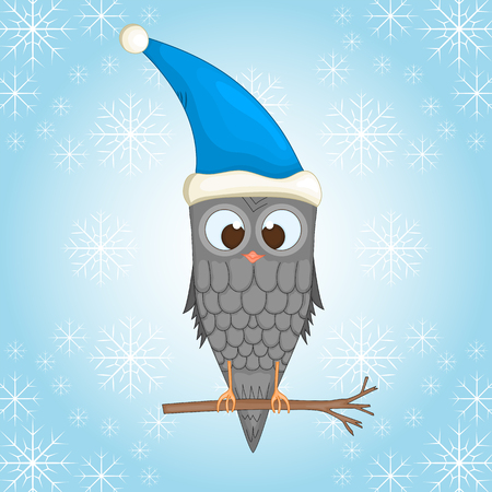 Owl on the branch in the Santa Claus hat. Postcard for the new year and Christmas isolated objects bird on winter background with snowflakes. Illustration