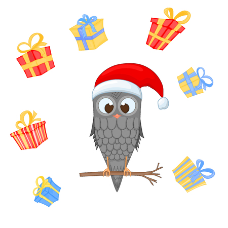Owl on the branch in the Santa Claus hat and scarf. postcard for the new year and Christmas. Isolated bird on white background, Surrounded by gifts. Template for text and congratulations.