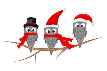 Three owls on the branch in the Santa Claus hat and scarf. postcard for the new year and Christmas. Isolated objects bird on white background. Template for text and congratulations. Stock Photo
