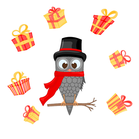 owl on the branch in the Santa Claus hat and scarf. postcard for the new year and Christmas. Isolated bird on white background, Surrounded by gifts. Template for text and congratulations. Stock Photo