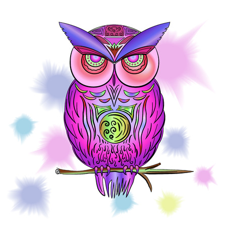Pink owl with watercolor stains in vector EPS