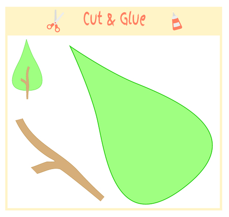 Education paper game for the development of preschool children. Cut parts of the image and glue on the paper vector illustration. Use scissors and glue to create the applique. Illustration
