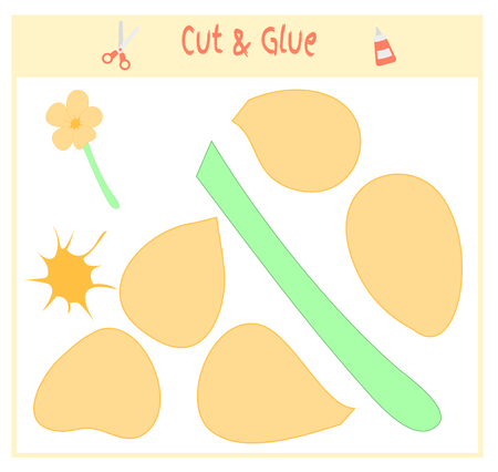 Education paper game for the development of preschool children. Cut parts of the image and glue on the paper. Vector illustration. Use scissors and glue to create the applique.flowers.