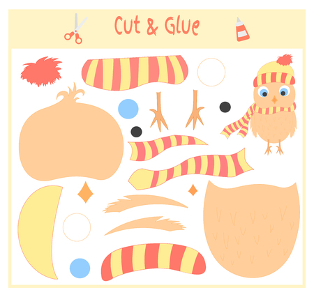Education paper game for the development of preschool children. Cut parts of the image and glue on the paper. Vector illustration. Use scissors and glue to create the applique.owl.