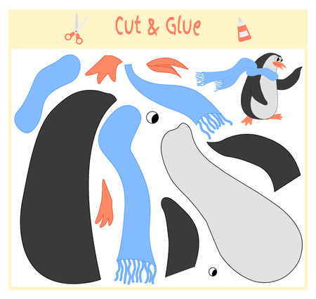 Education paper game for the development of preschool children. Cut parts of the image and glue on the paper. Vector illustration. Use scissors and glue to create the applique. penguin in scarf.