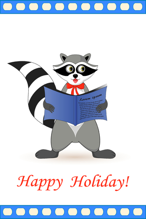Raccoon a gargle postcard greetings for the holiday. Stock Vector - 92626357