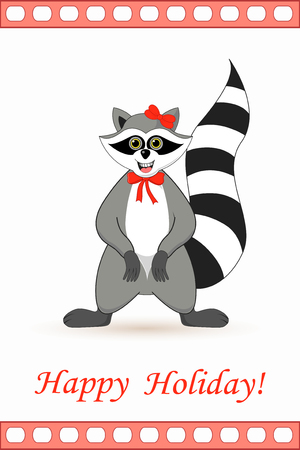 Raccoon a gargle postcard greetings for the holiday. Illustration