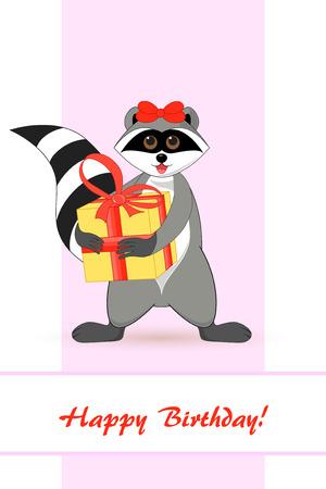 Raccoon a gargle greeting card for birthday.