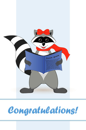 Raccoon a gargle. Postcard greetings for the holiday.