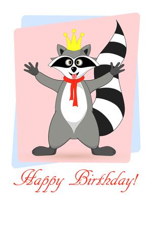 Raccoon a gargle. Greeting card for birthday. Illustration