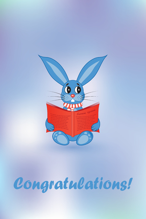 Greeting card. Blue rabbit with a red book Illustration