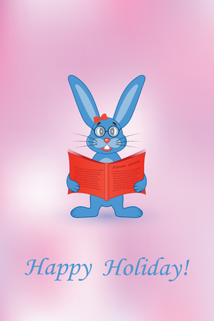 Greeting card. Blue rabbit with a red book.