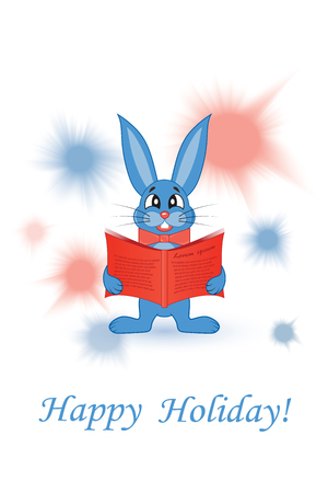 Greeting card. Blue rabbit with a red book Stock Photo