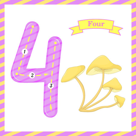 Cute children flashcard number one tracing with 1 mushroom for kids learning to count and to write. Learning the numbers 0-10, flash cards, educational preschool activities, worksheets for kids.