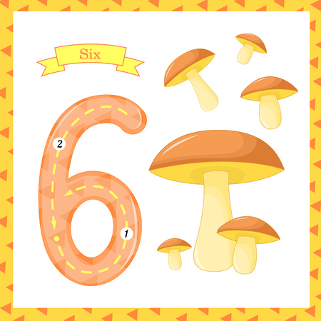 Cute children Flashcard number one tracing with 1 mushroom for kids learning to count and to write.