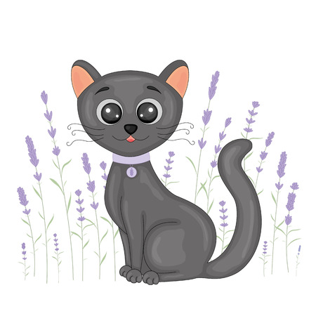 Cute cartoon black cat on floral lavender background. Postcard with home kitten with black legs and big eyes. Vector children s illustration for books.