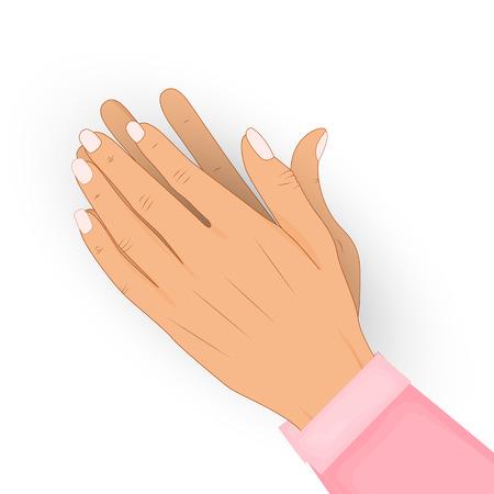 Aplaudiendo las manos humanas aisladas sobre fondo blanco. Aplausos, bravo. Felicidades, felicitaciones, concepto de reconocimiento. Ilustración vectorial En una camisa