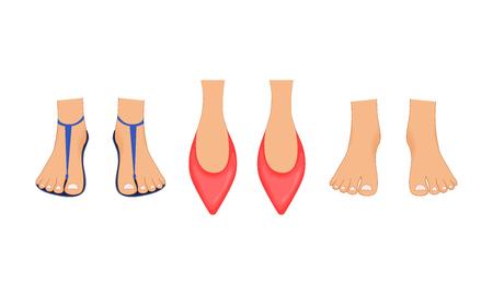 Hermosas piernas femeninas en zapatillas rojas, sandalias de playa de verano y pies descalzos con una pedicura. Ilustración realizada en estilo de dibujos animados. Piernas para personaje de negocios