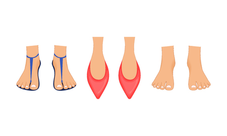 Beautiful female legs in red Slippers, summer beach sandals and bare feet with a pedicure. Illustration done in cartoon style. Legs for business character Vectores