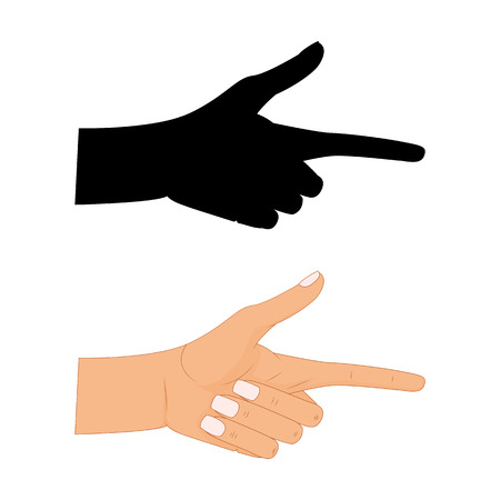 Hand with pointing finger Vector illustration , Pointing fingers, hand drawn hands isolated on white background, silhouette of pointing finger hand. Illustration