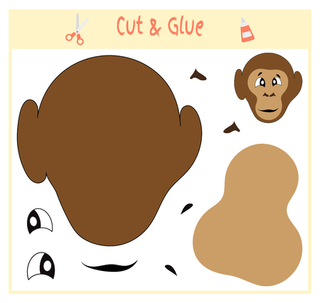 Education paper game for the development of preschool children. Cut parts of the image and glue on the paper. Vector illustration. Use scissors and glue to create the applique. monkey animal