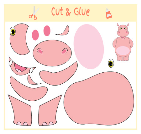Education paper game for the development of preschool children. Cut parts of the image and glue on the paper. Vector illustration. Use scissors and glue to create the applique. Hippo animal. Illustration
