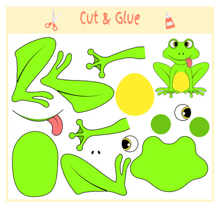 Education paper game for the development of preschool children. Cut parts of the image and glue on the paper. Vector illustration. Use scissors and glue to create the applique. frog animal