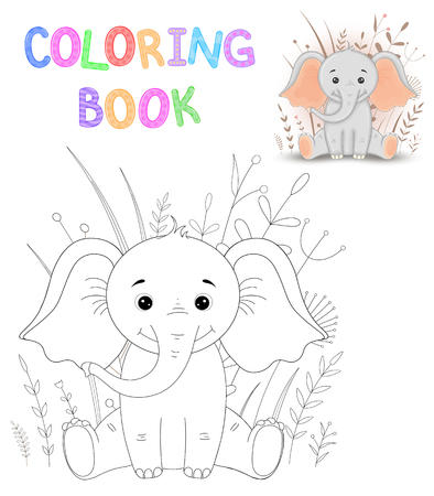 Coloring book or page for children of school and preschool age. Developing children s coloring. Vector cartoon illustration with cute elephant